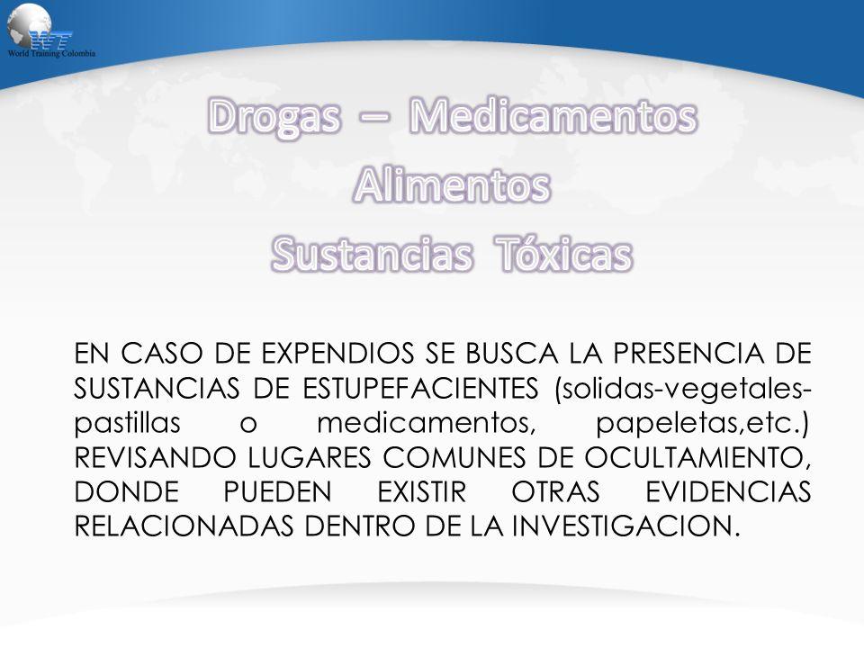 EN CASO DE EXPENDIOS SE BUSCA LA PRESENCIA DE SUSTANCIAS DE ESTUPEFACIENTES (solidas-vegetales- pastillas o medicamentos, papeletas,etc.) REVISANDO LU