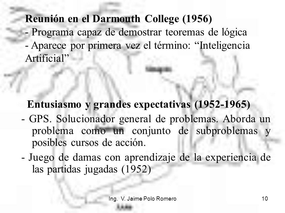 Ing. V. Jaime Polo Romero10 Entusiasmo y grandes expectativas (1952-1965) - GPS. Solucionador general de problemas. Aborda un problema como un conjunt