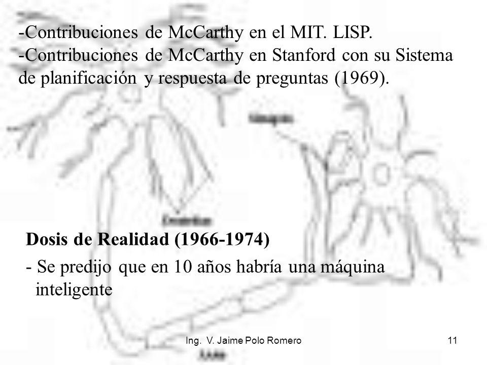 Ing. V. Jaime Polo Romero11 Dosis de Realidad (1966-1974) - Se predijo que en 10 años habría una máquina inteligente -Contribuciones de McCarthy en el