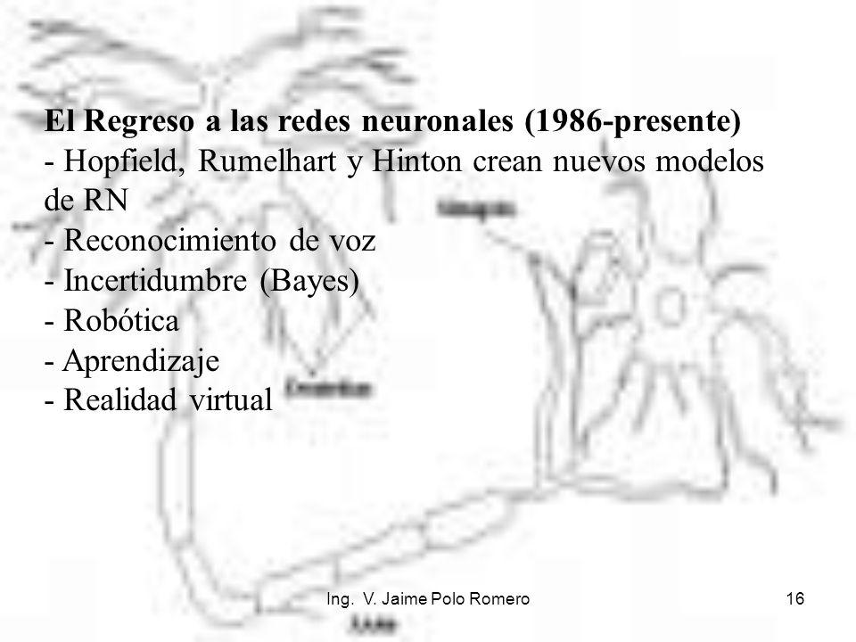 Ing. V. Jaime Polo Romero16 El Regreso a las redes neuronales (1986-presente) - Hopfield, Rumelhart y Hinton crean nuevos modelos de RN - Reconocimien