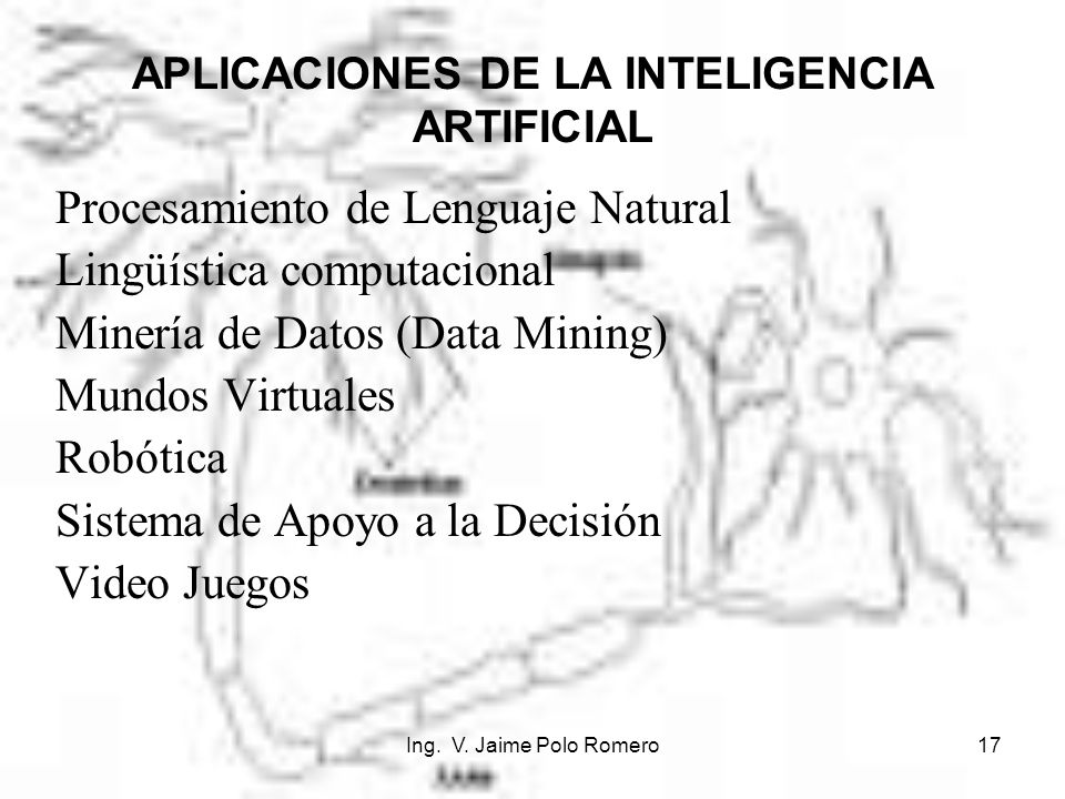 Ing. V. Jaime Polo Romero17 APLICACIONES DE LA INTELIGENCIA ARTIFICIAL Procesamiento de Lenguaje Natural Lingüística computacional Minería de Datos (D