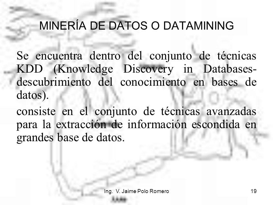 Ing. V. Jaime Polo Romero19 MINERÍA DE DATOS O DATAMINING Se encuentra dentro del conjunto de técnicas KDD (Knowledge Discovery in Databases- descubri