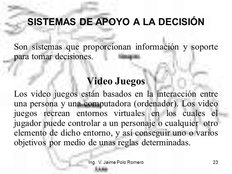 Ing. V. Jaime Polo Romero23 SISTEMAS DE APOYO A LA DECISIÓN Son sistemas que proporcionan información y soporte para tomar decisiones. Video Juegos Lo