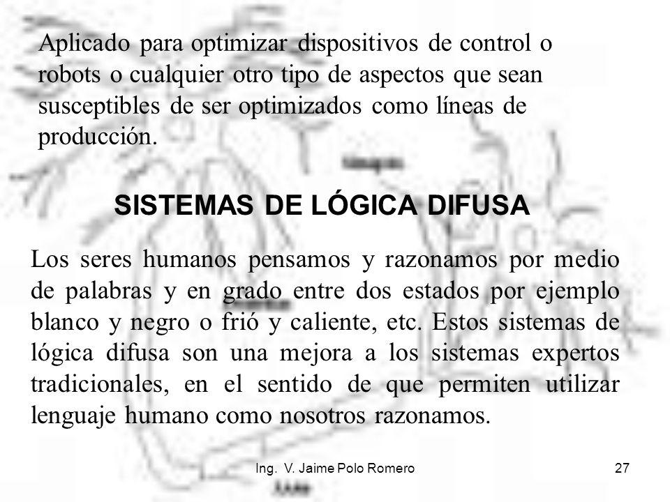 Ing. V. Jaime Polo Romero27 SISTEMAS DE LÓGICA DIFUSA Los seres humanos pensamos y razonamos por medio de palabras y en grado entre dos estados por ej