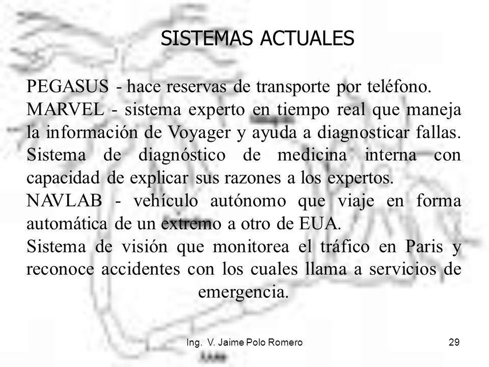 Ing. V. Jaime Polo Romero29 SISTEMAS ACTUALES PEGASUS - hace reservas de transporte por teléfono. MARVEL - sistema experto en tiempo real que maneja l