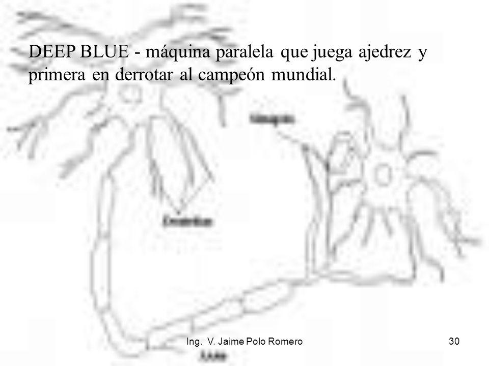Ing. V. Jaime Polo Romero30 DEEP BLUE - máquina paralela que juega ajedrez y primera en derrotar al campeón mundial.