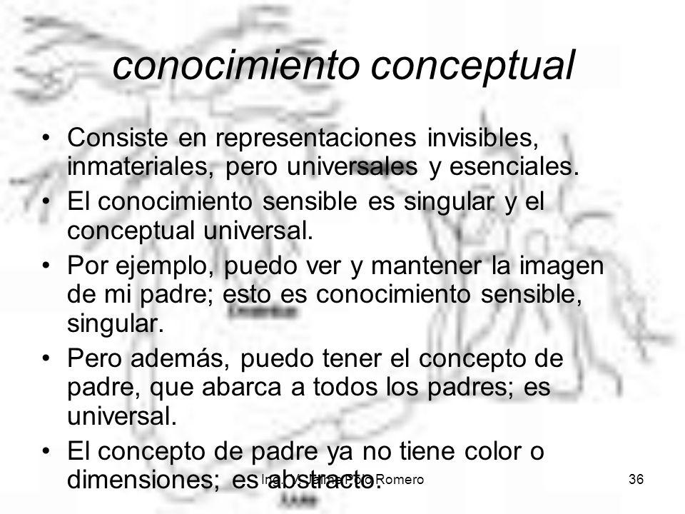 Ing. V. Jaime Polo Romero36 conocimiento conceptual Consiste en representaciones invisibles, inmateriales, pero universales y esenciales. El conocimie