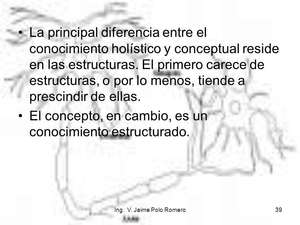 Ing. V. Jaime Polo Romero39 La principal diferencia entre el conocimiento holístico y conceptual reside en las estructuras. El primero carece de estru