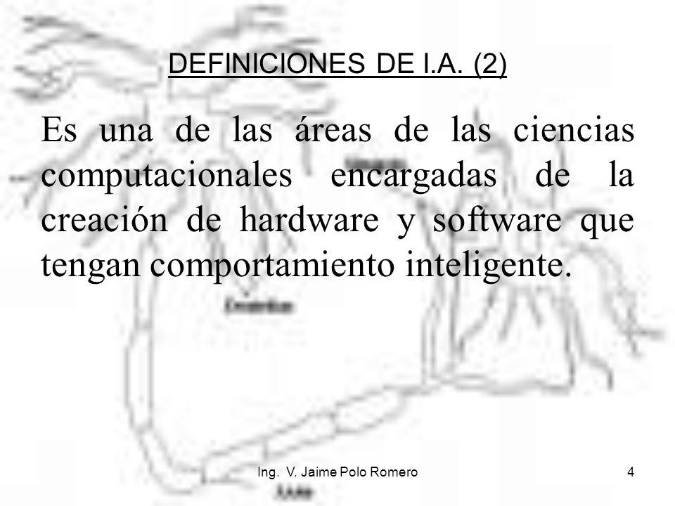 Ing. V. Jaime Polo Romero4 DEFINICIONES DE I.A. (2) Es una de las áreas de las ciencias computacionales encargadas de la creación de hardware y softwa