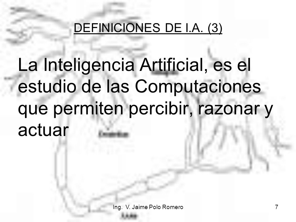 Ing. V. Jaime Polo Romero7 La Inteligencia Artificial, es el estudio de las Computaciones que permiten percibir, razonar y actuar DEFINICIONES DE I.A.