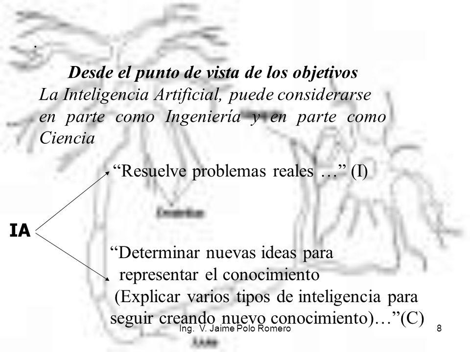 Ing. V. Jaime Polo Romero8. Desde el punto de vista de los objetivos La Inteligencia Artificial, puede considerarse en parte como Ingeniería y en part
