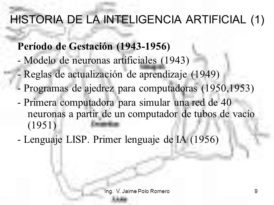 Ing. V. Jaime Polo Romero9 HISTORIA DE LA INTELIGENCIA ARTIFICIAL (1) Período de Gestación (1943-1956) - Modelo de neuronas artificiales (1943) - Regl