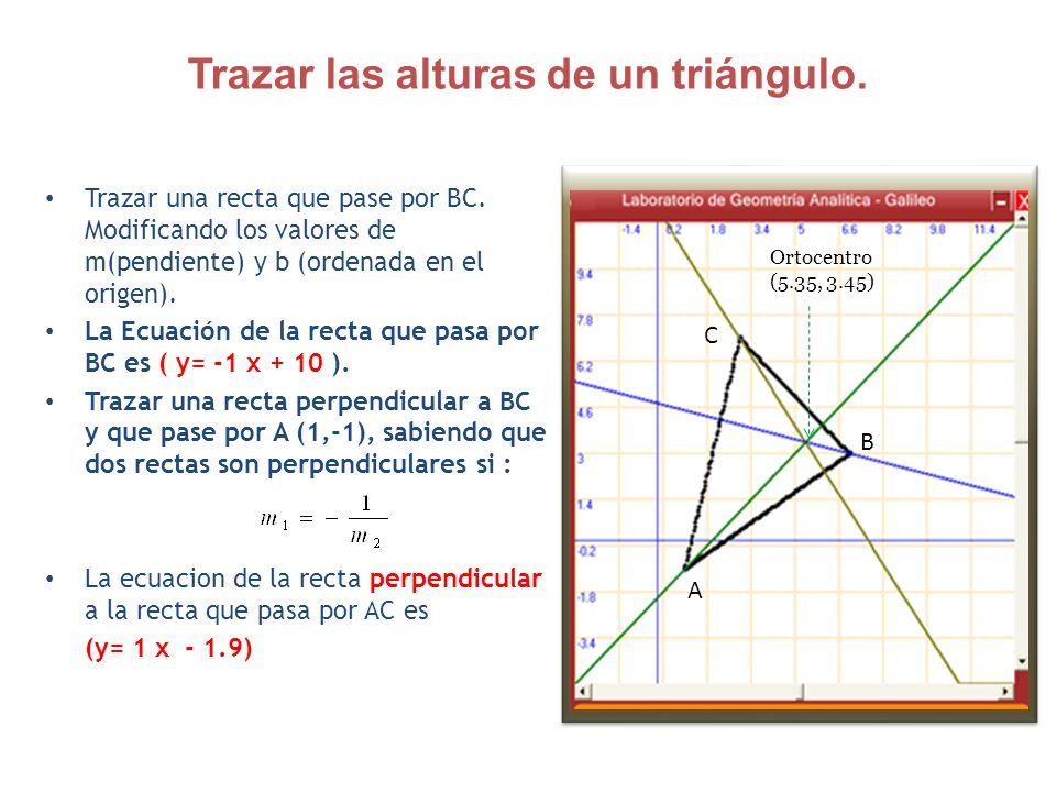 Trazar las alturas de un triángulo. Trazar una recta que pase por BC. Modificando los valores de m(pendiente) y b (ordenada en el origen). La Ecuación