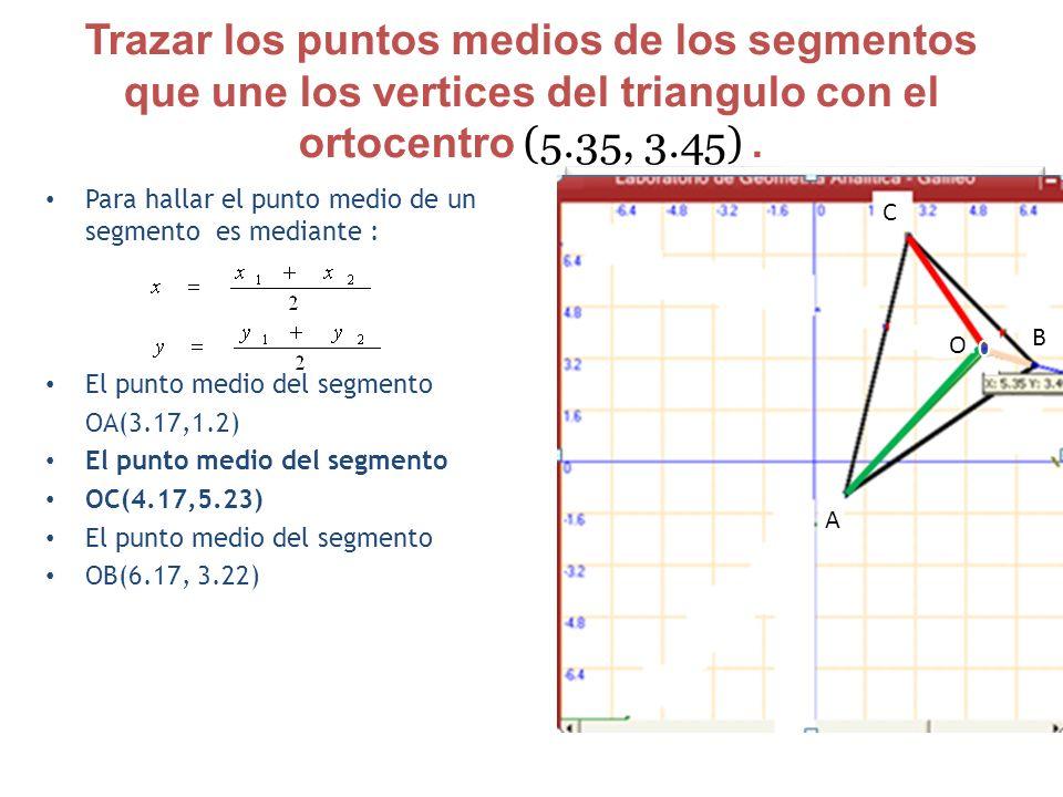 Trazar los puntos medios de los segmentos que une los vertices del triangulo con el ortocentro (5.35, 3.45). Para hallar el punto medio de un segmento