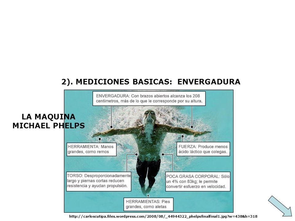 2). MEDICIONES BASICAS: ENVERGADURA http://carloscutipa.files.wordpress.com/2008/08/_44944322_phelpsfinalfinal1.jpg?w=438&h=318 LA MAQUINA MICHAEL PHE