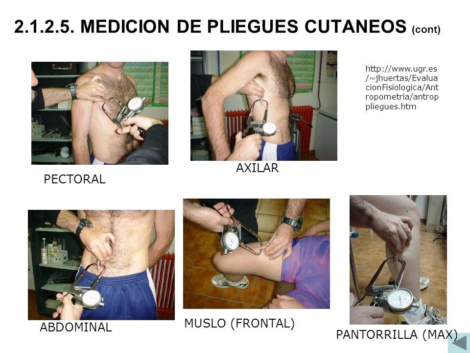 MUSLO (FRONTAL) ABDOMINAL PECTORAL AXILAR 2.1.2.5. MEDICION DE PLIEGUES CUTANEOS (cont) http://www.ugr.es /~jhuertas/Evalua cionFisiologica/Ant ropome
