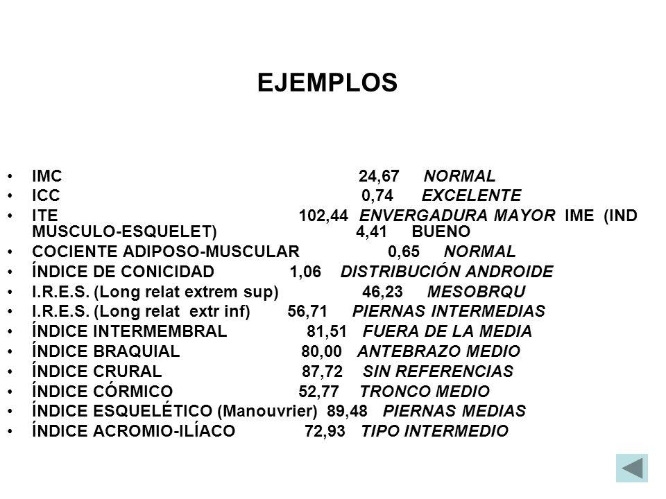 EJEMPLOS IMC 24,67 NORMAL ICC 0,74 EXCELENTE ITE 102,44 ENVERGADURA MAYOR IME (IND MUSCULO-ESQUELET) 4,41 BUENO COCIENTE ADIPOSO-MUSCULAR 0,65 NORMAL