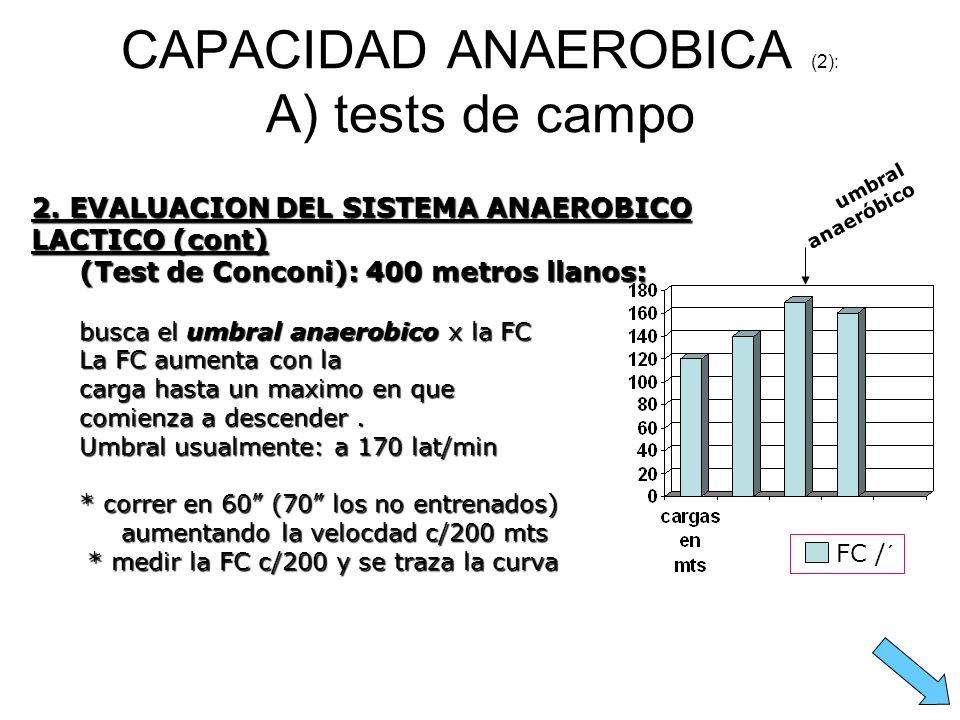 CAPACIDAD ANAEROBICA (2): A) tests de campo 2. EVALUACION DEL SISTEMA ANAEROBICO LACTICO (cont) (Test de Conconi): 400 metros llanos: busca el umbral