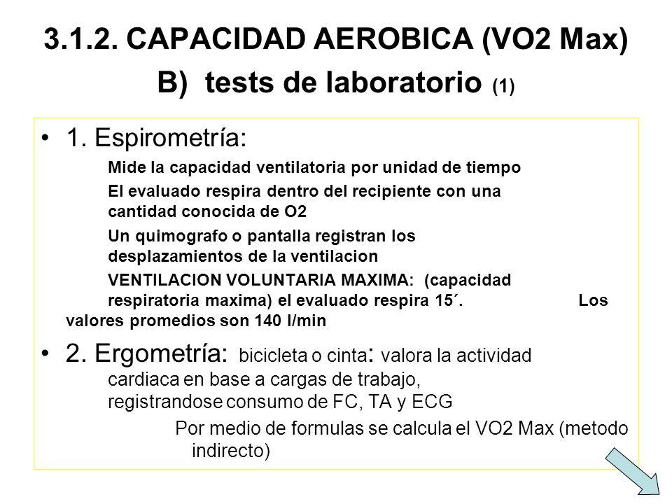 3.1.2. CAPACIDAD AEROBICA (VO2 Max) B) tests de laboratorio (1) 1. Espirometría: Mide la capacidad ventilatoria por unidad de tiempo El evaluado respi