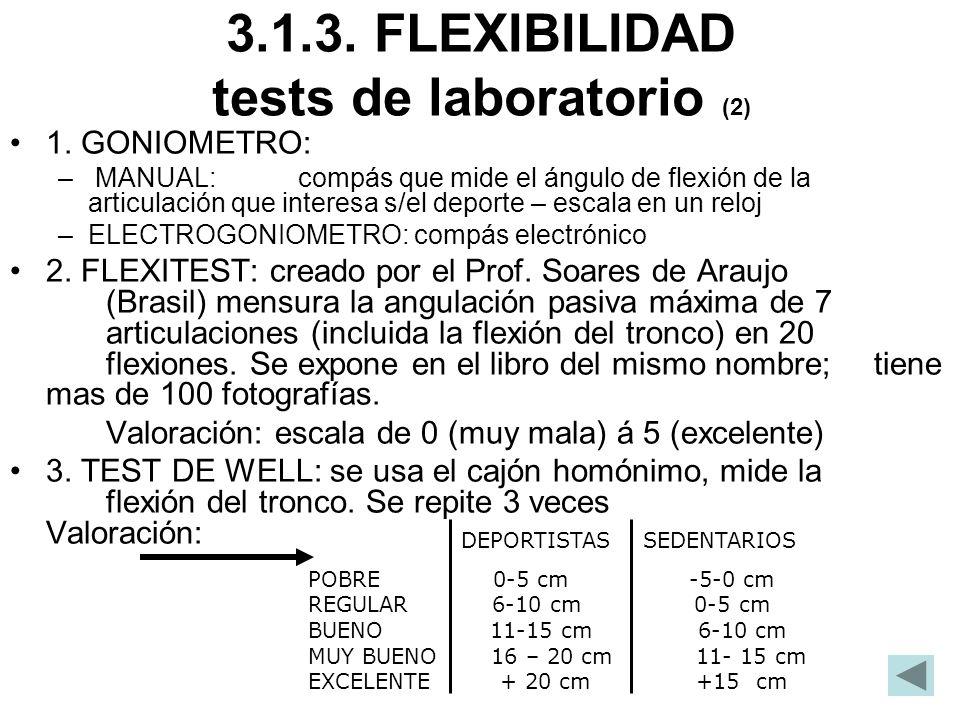 3.1.3. FLEXIBILIDAD tests de laboratorio (2) 1. GONIOMETRO: – MANUAL: compás que mide el ángulo de flexión de la articulación que interesa s/el deport