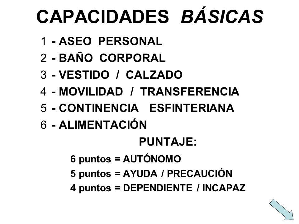 CAPACIDADES BÁSICAS 1- ASEO PERSONAL 2- BAÑO CORPORAL 3- VESTIDO / CALZADO 4- MOVILIDAD / TRANSFERENCIA 5- CONTINENCIA ESFINTERIANA 6- ALIMENTACIÓN PU