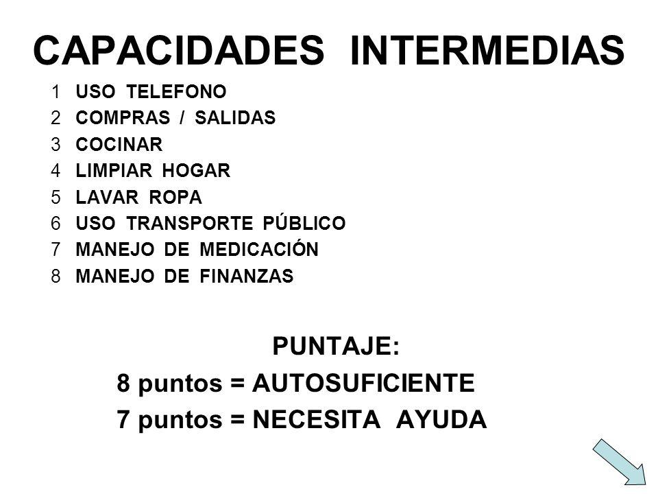CAPACIDADES INTERMEDIAS 1USO TELEFONO 2COMPRAS / SALIDAS 3COCINAR 4LIMPIAR HOGAR 5LAVAR ROPA 6USO TRANSPORTE PÚBLICO 7MANEJO DE MEDICACIÓN 8MANEJO DE