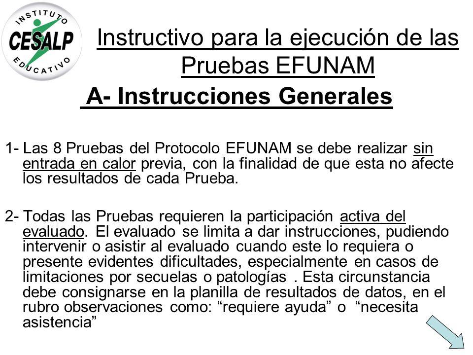 Instructivo para la ejecución de las Pruebas EFUNAM A- Instrucciones Generales 1- Las 8 Pruebas del Protocolo EFUNAM se debe realizar sin entrada en c