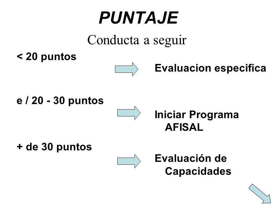 PUNTAJE < 20 puntos e / 20 - 30 puntos + de 30 puntos Evaluacion especifica Iniciar Programa AFISAL Evaluación de Capacidades Conducta a seguir