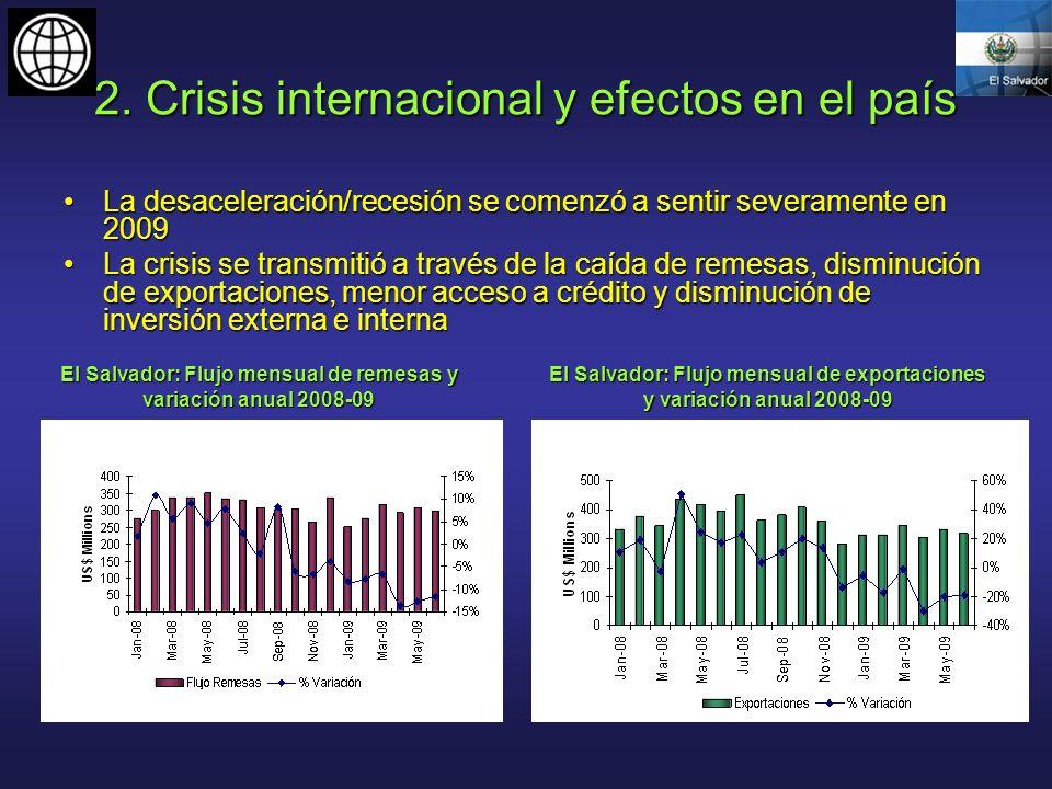 2. Crisis internacional y efectos en el país La desaceleración/recesión se comenzó a sentir severamente en 2009La desaceleración/recesión se comenzó a