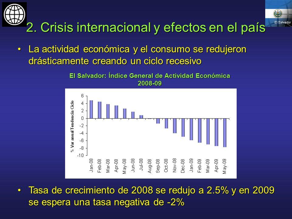 2. Crisis internacional y efectos en el país La actividad económica y el consumo se redujeron drásticamente creando un ciclo recesivoLa actividad econ