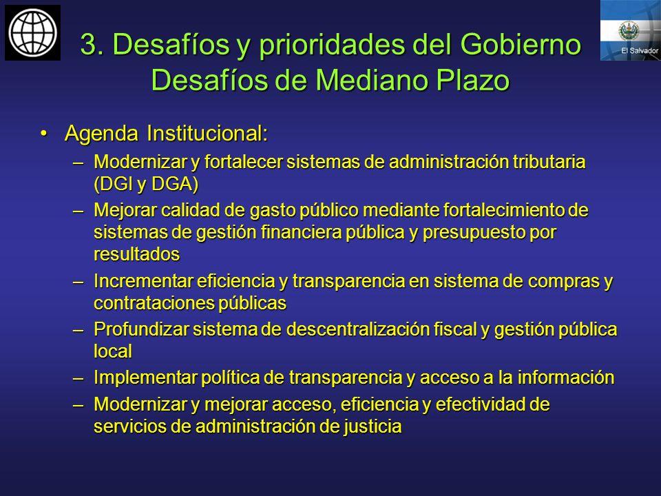 3. Desafíos y prioridades del Gobierno Desafíos de Mediano Plazo Agenda Institucional:Agenda Institucional: –Modernizar y fortalecer sistemas de admin