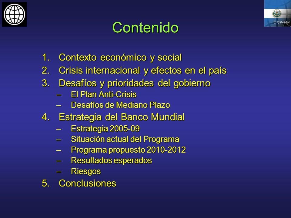 Contenido 1.Contexto económico y social 2.Crisis internacional y efectos en el país 3.Desafíos y prioridades del gobierno –El Plan Anti-Crisis –Desafí