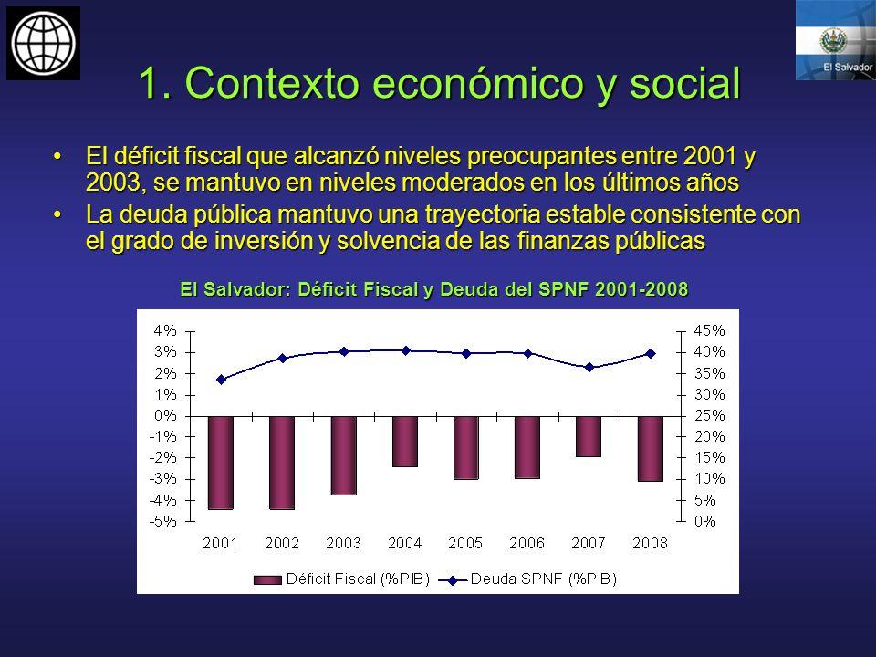 1. Contexto económico y social El déficit fiscal que alcanzó niveles preocupantes entre 2001 y 2003, se mantuvo en niveles moderados en los últimos añ
