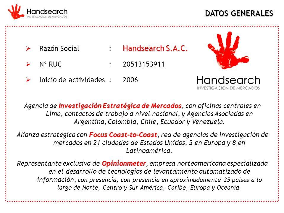 Handsearch S.A.C. Razón Social: Handsearch S.A.C. N° RUC:20513153911 Inicio de actividades: 2006 DATOS GENERALES Investigación Estratégica de Mercados