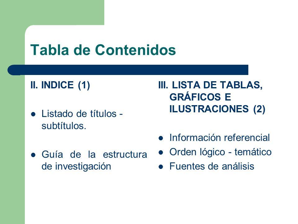 Tabla de Contenidos II. INDICE (1) Listado de títulos - subtítulos. Guía de la estructura de investigación III. LISTA DE TABLAS, GRÁFICOS E ILUSTRACIO