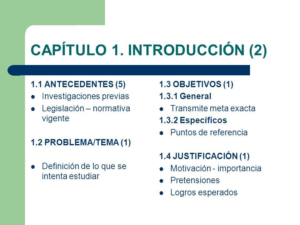 CAPÍTULO 1. INTRODUCCIÓN (2) 1.1 ANTECEDENTES (5) Investigaciones previas Legislación – normativa vigente 1.2 PROBLEMA/TEMA (1) Definición de lo que s