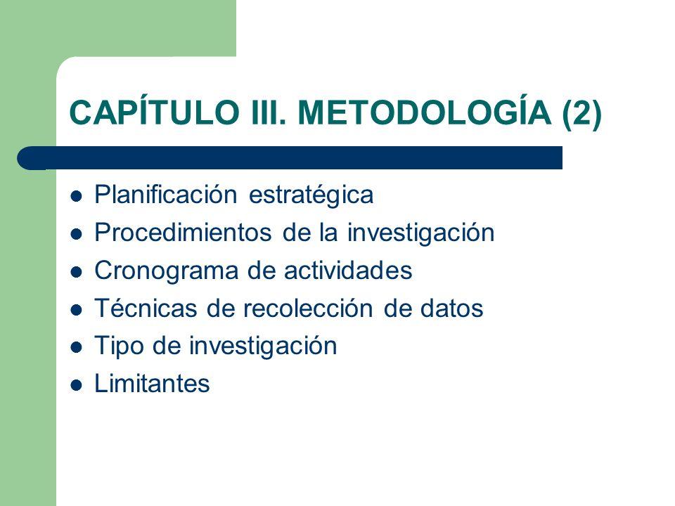 CAPÍTULO III. METODOLOGÍA (2) Planificación estratégica Procedimientos de la investigación Cronograma de actividades Técnicas de recolección de datos