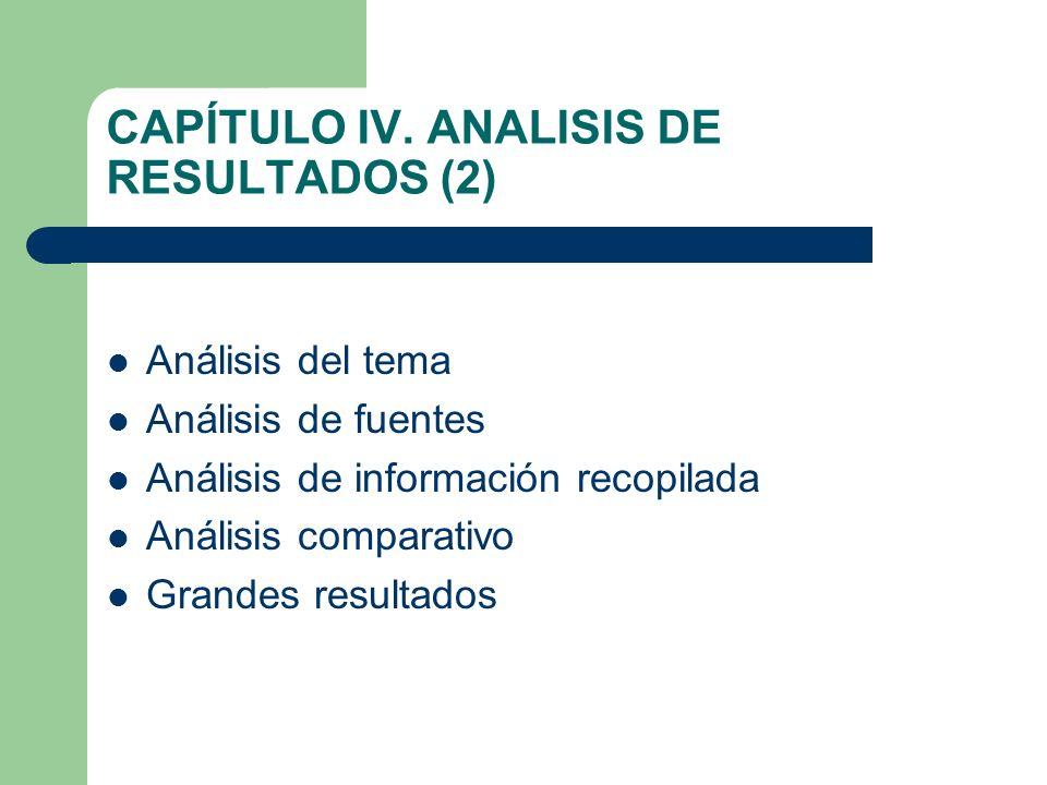 CAPÍTULO IV. ANALISIS DE RESULTADOS (2) Análisis del tema Análisis de fuentes Análisis de información recopilada Análisis comparativo Grandes resultad
