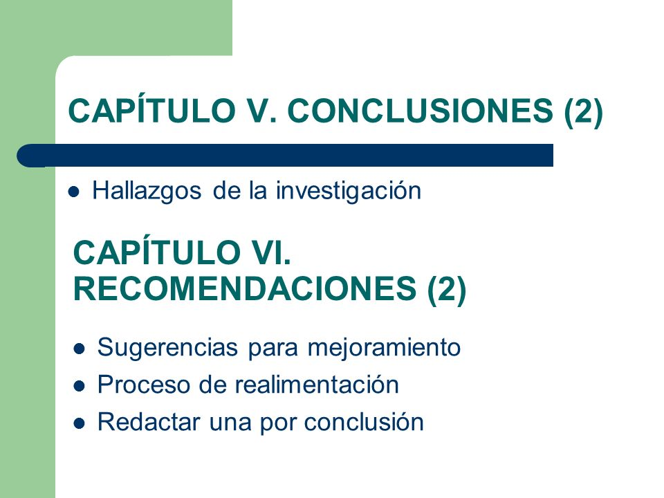 CAPÍTULO V. CONCLUSIONES (2) Hallazgos de la investigación CAPÍTULO VI. RECOMENDACIONES (2) Sugerencias para mejoramiento Proceso de realimentación Re