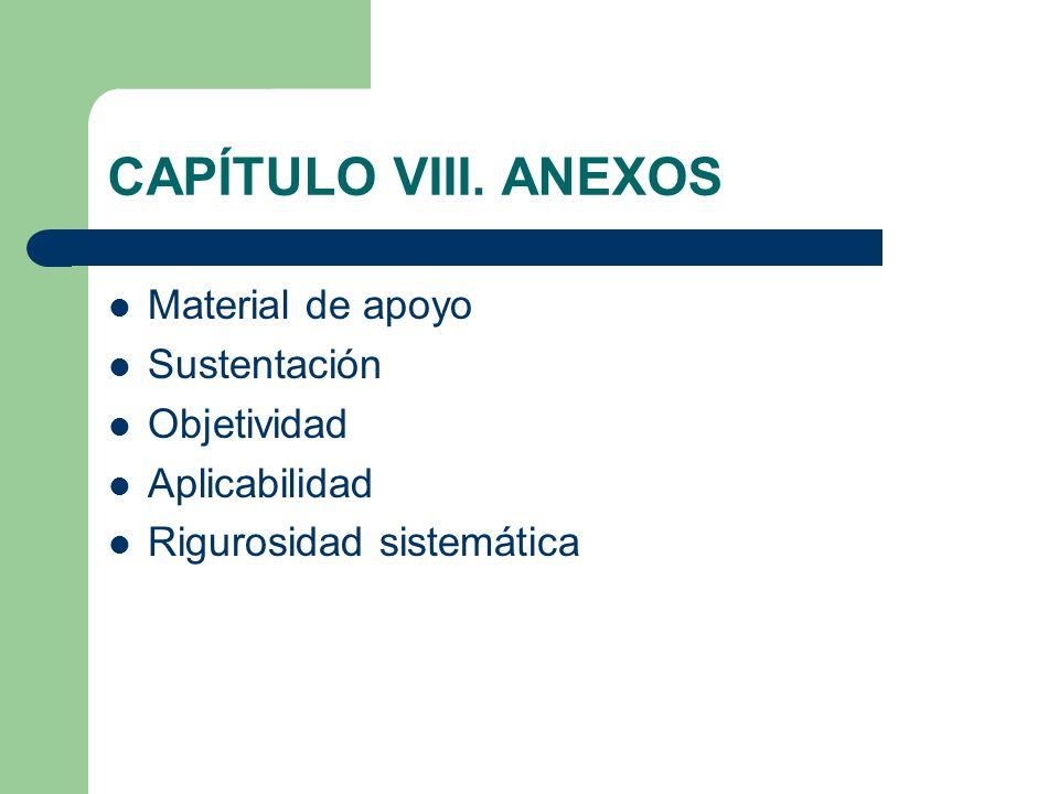 CAPÍTULO VIII. ANEXOS Material de apoyo Sustentación Objetividad Aplicabilidad Rigurosidad sistemática