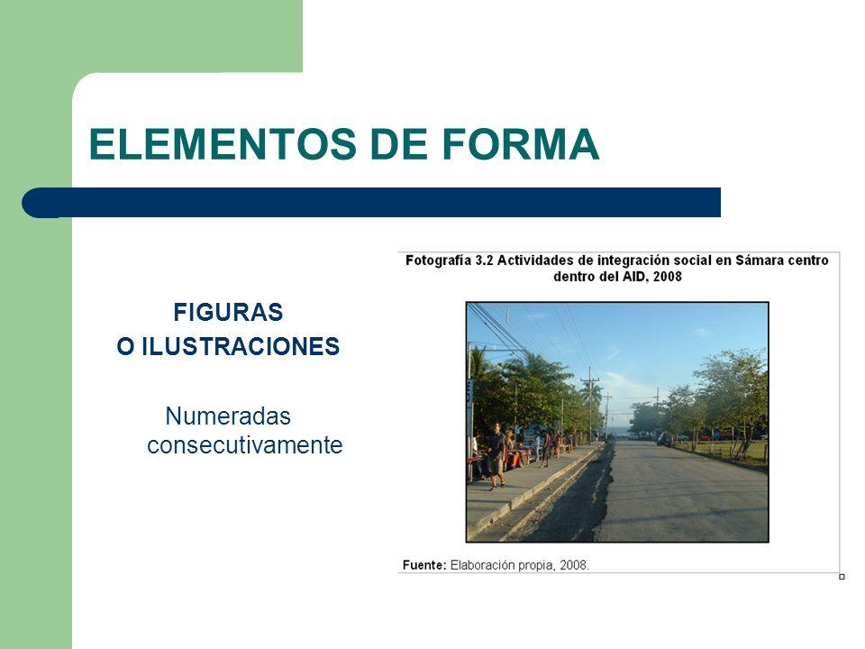 ELEMENTOS DE FORMA FIGURAS O ILUSTRACIONES Numeradas consecutivamente