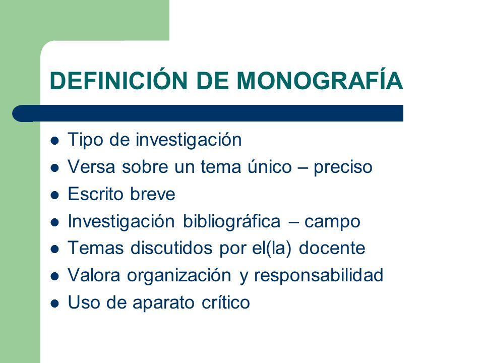 ESTRUCTURA DE LA INVESTIGACIÓN TIPO MONOGRAFÍA PARTE II