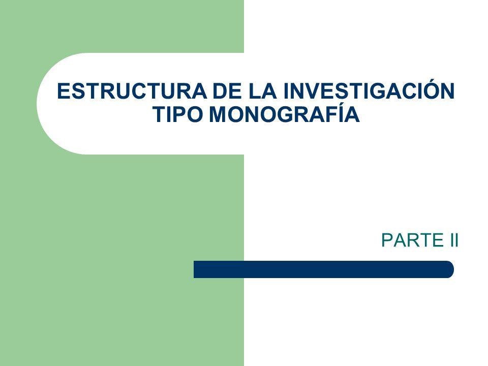 ESTRUCTURA DE LA MONOGRAFÍA (máximo 40 páginas) Portada I.