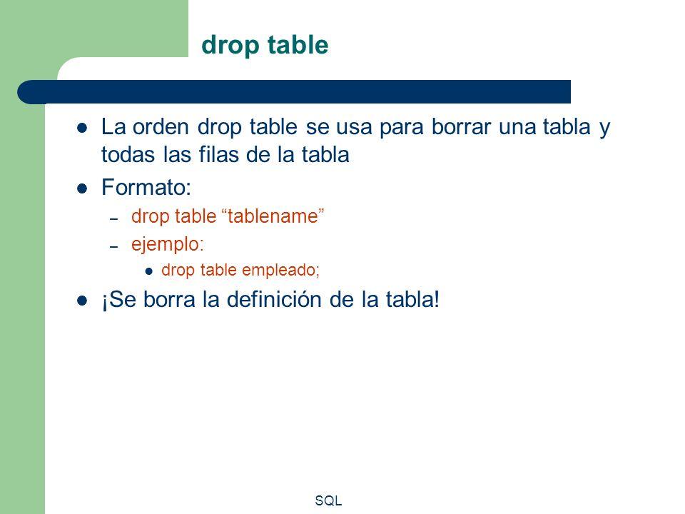 SQL drop table La orden drop table se usa para borrar una tabla y todas las filas de la tabla Formato: – drop table tablename – ejemplo: drop table em