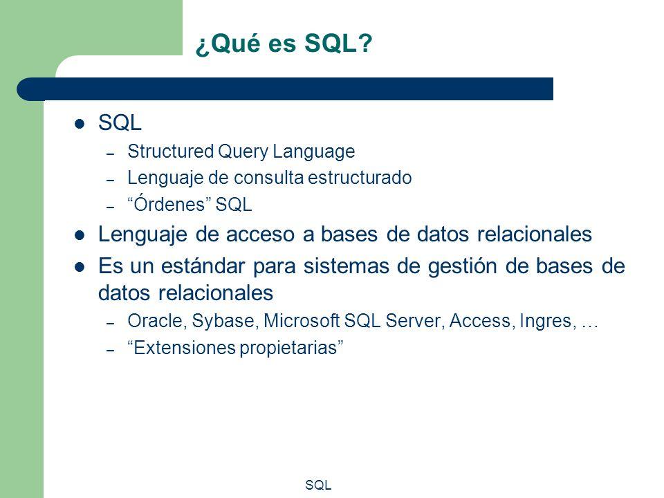 ¿Qué es SQL? SQL – Structured Query Language – Lenguaje de consulta estructurado – Órdenes SQL Lenguaje de acceso a bases de datos relacionales Es un