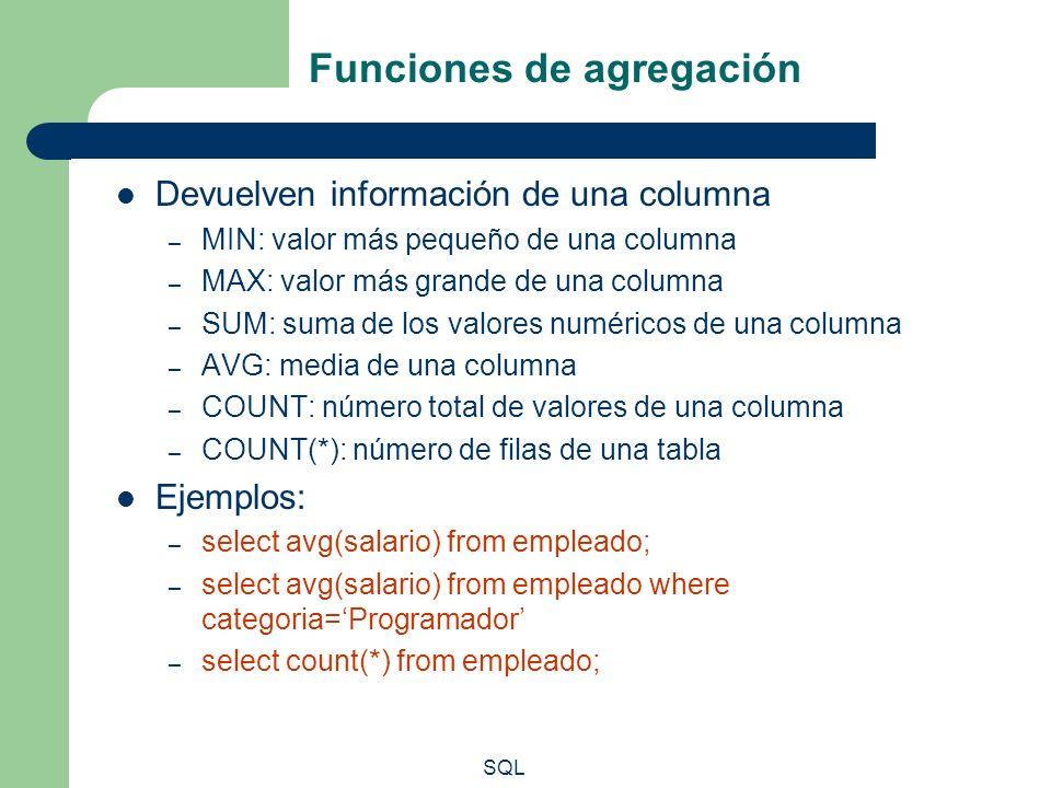 SQL Funciones de agregación Devuelven información de una columna – MIN: valor más pequeño de una columna – MAX: valor más grande de una columna – SUM:
