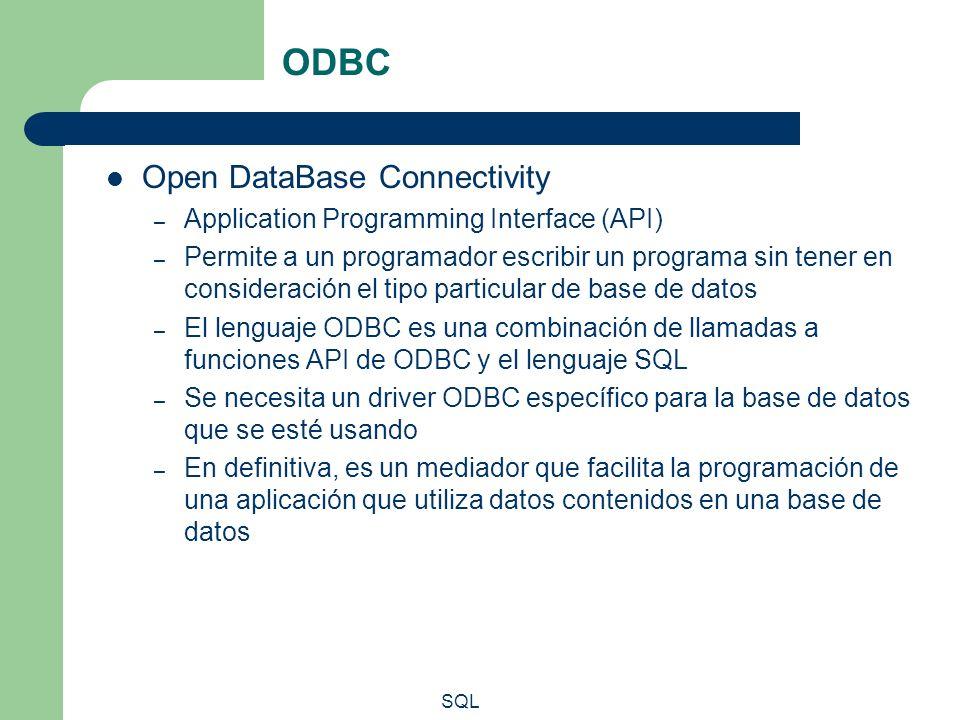 SQL ODBC Open DataBase Connectivity – Application Programming Interface (API) – Permite a un programador escribir un programa sin tener en consideraci