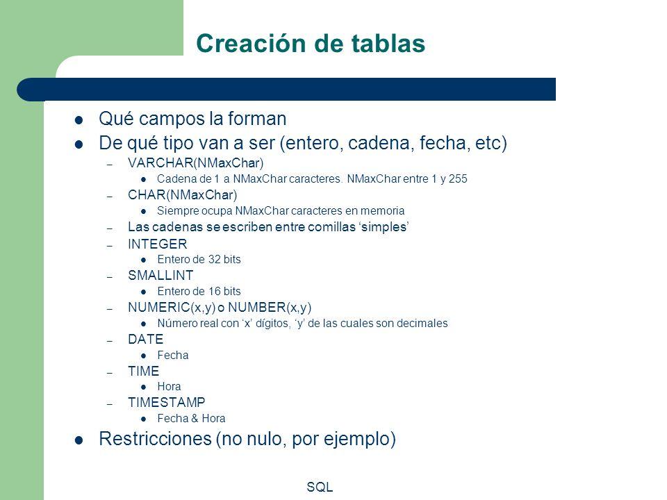SQL Creación de tablas Qué campos la forman De qué tipo van a ser (entero, cadena, fecha, etc) – VARCHAR(NMaxChar) Cadena de 1 a NMaxChar caracteres.