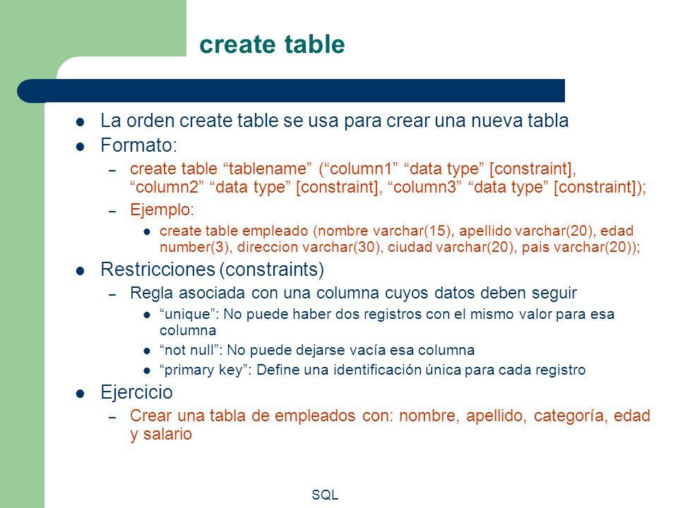 SQL create table La orden create table se usa para crear una nueva tabla Formato: – create table tablename (column1 data type [constraint], column2 da
