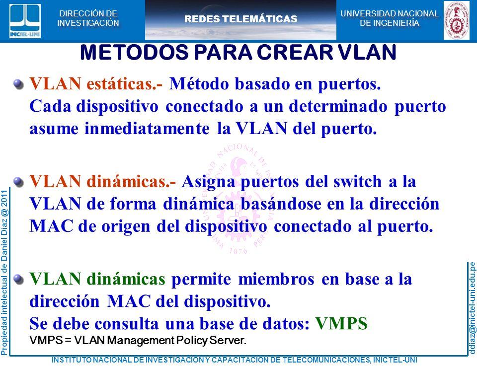 ddiaz@inictel-uni.edu.pe INSTITUTO NACIONAL DE INVESTIGACION Y CAPACITACION DE TELECOMUNICACIONES, INICTEL-UNI Propiedad intelectual de Daniel Díaz @ 2011 REDES TELEMÁTICAS UNIVERSIDAD NACIONAL DE INGENIERÍA UNIVERSIDAD NACIONAL DE INGENIERÍA DIRECCIÓN DE INVESTIGACIÓN DIRECCIÓN DE INVESTIGACIÓN Creando las VLAN: CREACION DE LAS VLAN Switch> Switch# Switch(config)# Lima(config)# Lima# Lima(vlan)# enable configure terminal hostname Lima exit vlan database vlan 2 name Fisica vlan 3 name Quimica Observando las VLAN creadas en el switch Lima: Lima#show vlan brief Similar configuración en el switch Cuzco o usar VTP